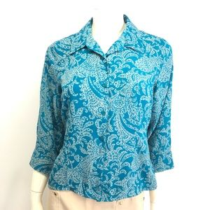 Laura Scott Teal Blue & Tan Shirt Size MP